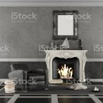 Black And White Classic Living Room With Fireplace Stock Photo Download Image Now Istock
