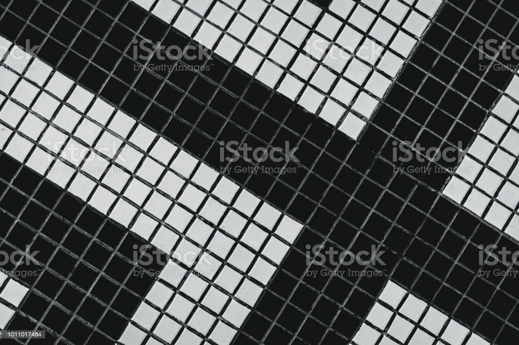 black and white small square bathroom floor tile with modern pattern top view of bathroom wall tile small square tile abstract texture background sad death hopeless and despair background stock photo