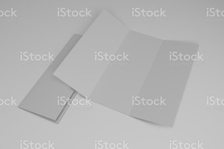 Royalty Free Trifold Brochure Template Pictures  Images and Stock     Blank tri fold brochure design template  3D rendering stock photo