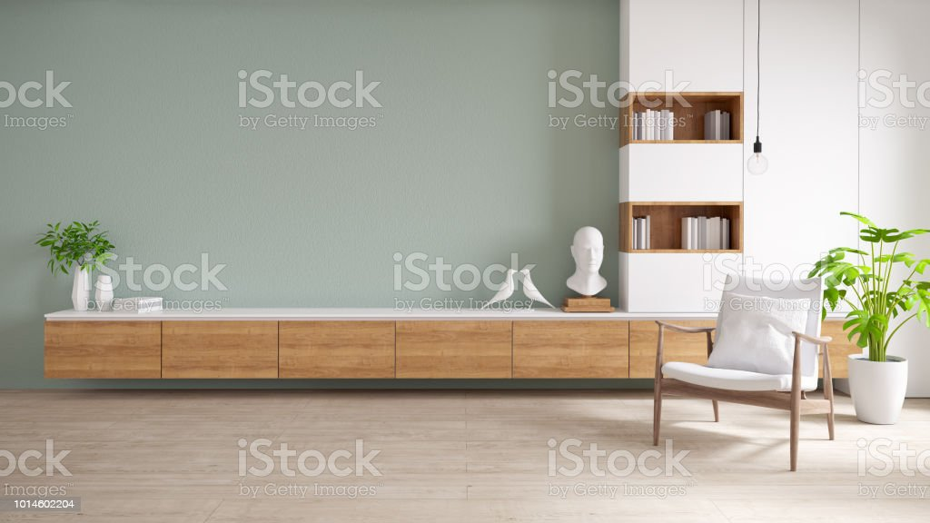photo libre de droit de meuble tv et affichage avec plancher en bois et mur vert