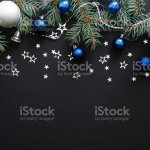 Christmas Composition With Blue And Sliver Modern Decorations Baubles Fir Tree Branches On Dark Black Background Elegant Christmas Banner Mockup Greeting Card Template Xmas New Year Concept Stock Photo Download Image