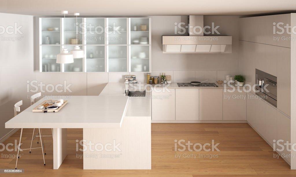 https www istockphoto com fr photo cuisine blanche minime classique avec sol en parquet un design int c3 a9rieur moderne gm653080664 118598857