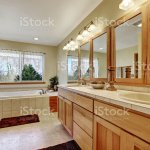 Close Up Of Long Double Sink Bathroom Vanity Stock Photo Download Image Now Istock