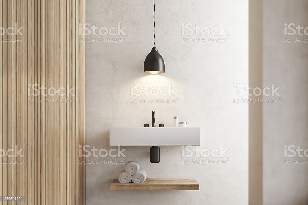 Close Up Of Sink With Shelf White Wooden Stock Photo
