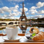 Coffee With Croissants Against Eiffel Tower In Paris France Stock Photo Download Image Now Istock