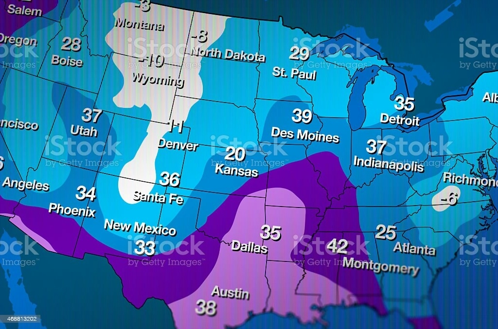 Cold Weather Forecast Map Stock Photo   More Pictures of 2015   iStock Cold Weather Forecast Map royalty free stock photo