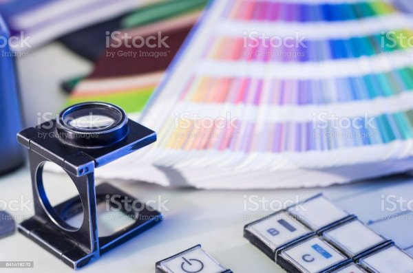 Color Management Process With Magnifying Glass And Color ...
