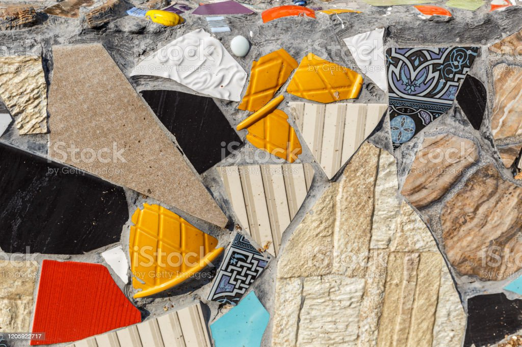 colorful ceramic mosaic floor or wall reused broken tile stock photo download image now istock