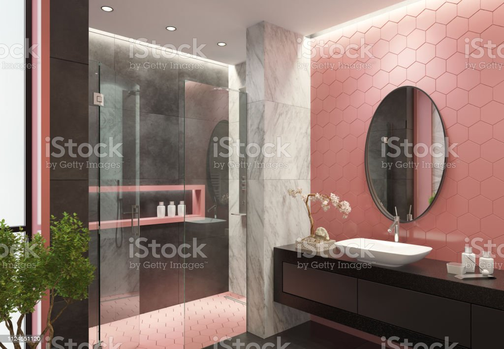 contemporary bathroom with light pink honeycomb tiles stock photo download image now istock