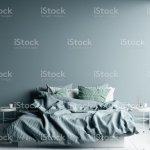 Dunkel Kalt Blau Schlafzimmer Innen Mit Leinen Blatt Auf Bett Wand Mock Up Stockfoto Und Mehr Bilder Von Banneranzeige Istock