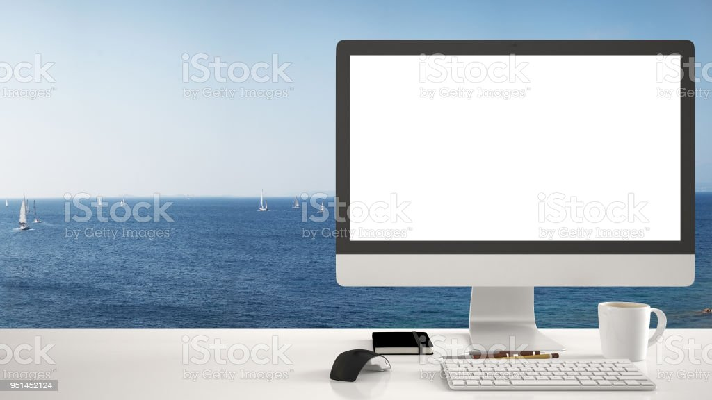 Desktop Mockup Template Computer On Work Desk With White Blank