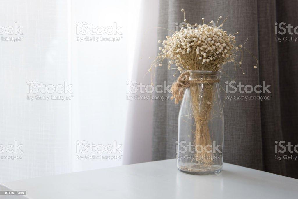 photo libre de droit de secher la fleur en bouteille vase verre transparent au salon concept de decoration et de linterieur banque d images et plus d images libres de droit de appartement