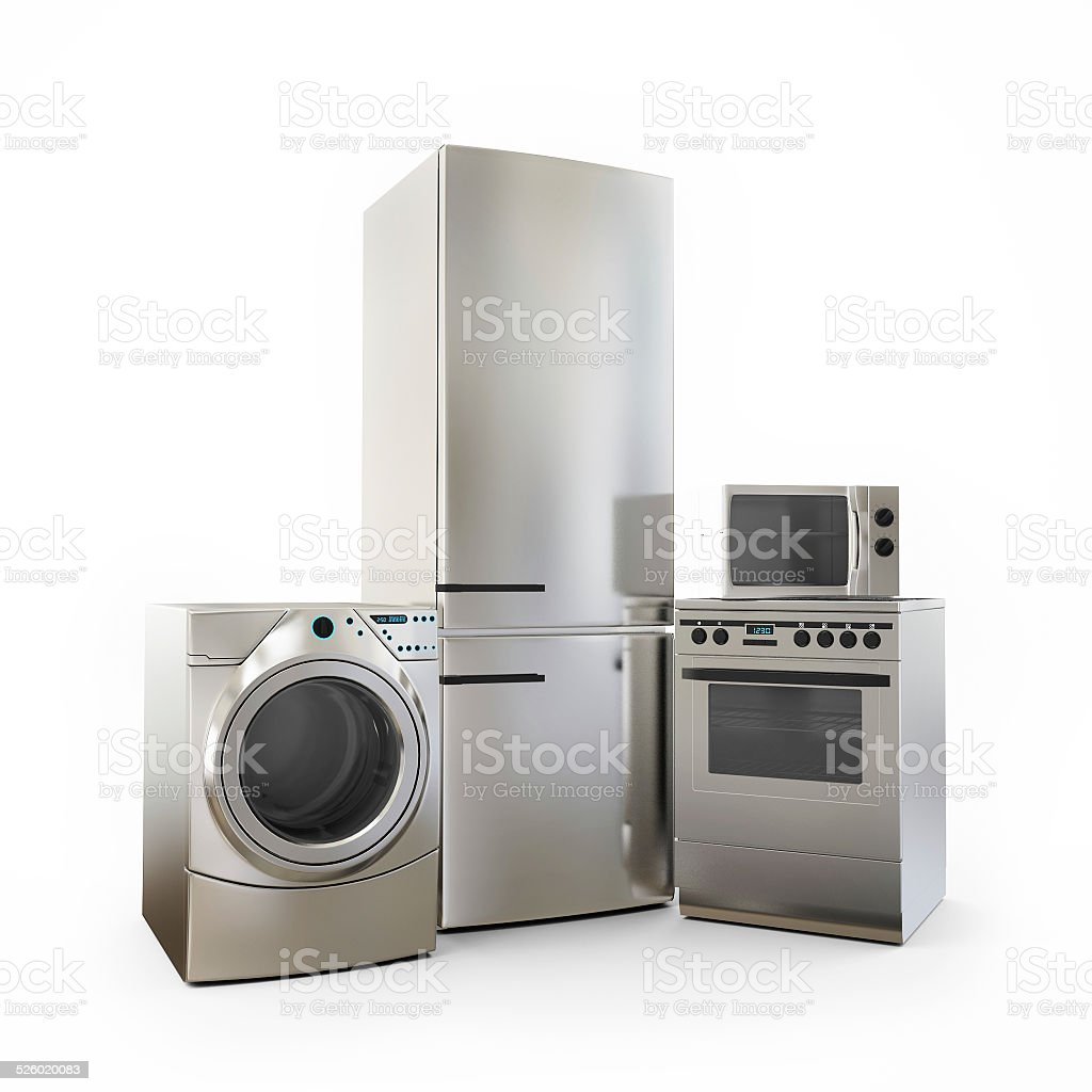 https www istockphoto com photo electronics fridge microwave washer and electric cooker home appliances gm526020083 52198632
