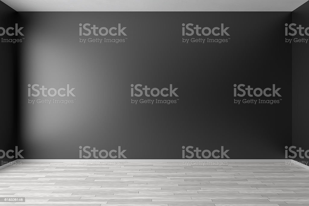 Empty Black Room With White Parquet Floor stock photo   iStock Empty black room with white parquet floor royalty free stock photo