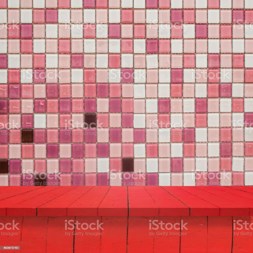 https www istockphoto com photo empty top wood shelves or table on tile wall background for put product and some thing gm653973762 118904597