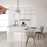 Empty White Interior With White Marble Ceramic Tiles Hand Drawing Custom Architecture Design Black Ink Sketch Blueprint Showing Modern Minimalist Kitchen Concept Mockup Idea Stock Photo Download Image Now Istock