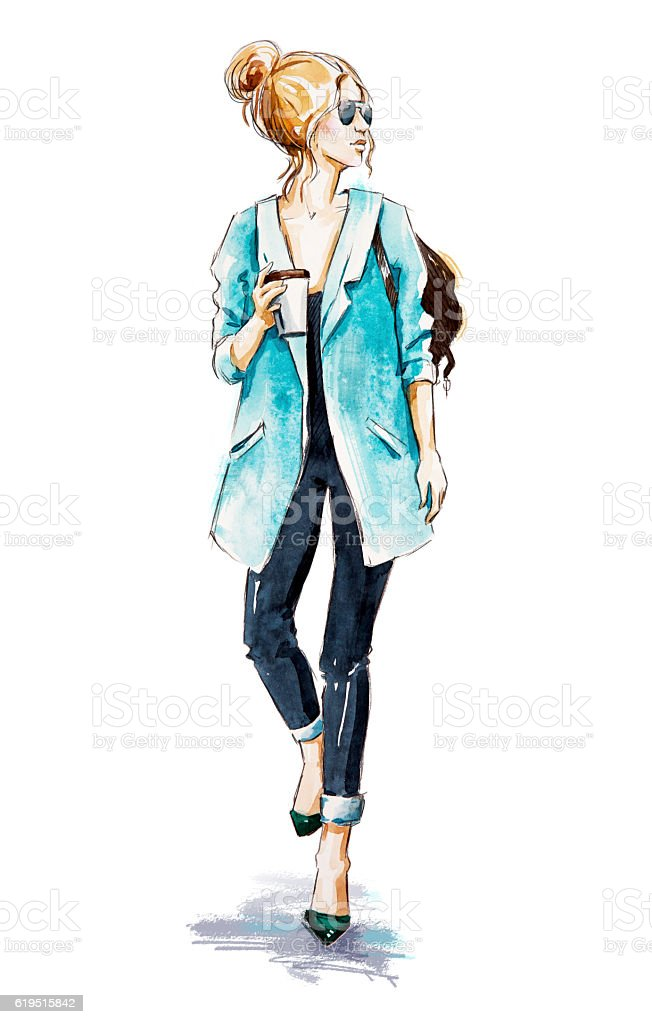 Royalty Free Fashion Design Sketches Pictures  Images and Stock     Fashion sketch  Street style  Girl with coffee  stock photo