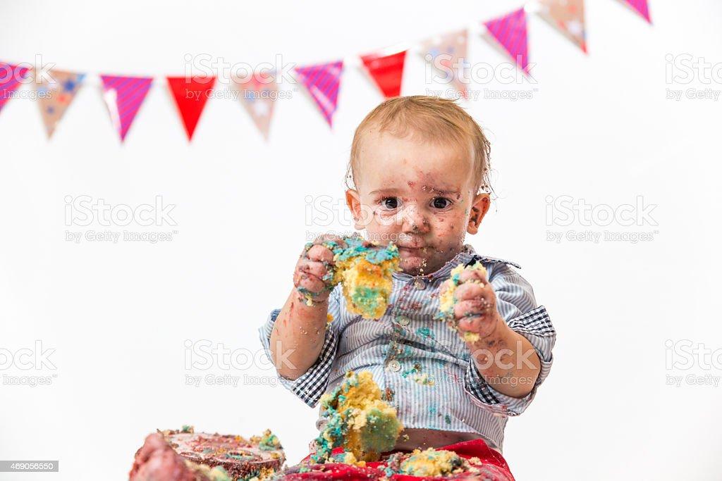 First Birthday Messy Cake Smash Photoshoot Of Cute Baby