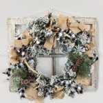 Flocked Christmas Wreath With Antlers Burlap And Ribbon Stock Photo Download Image Now Istock