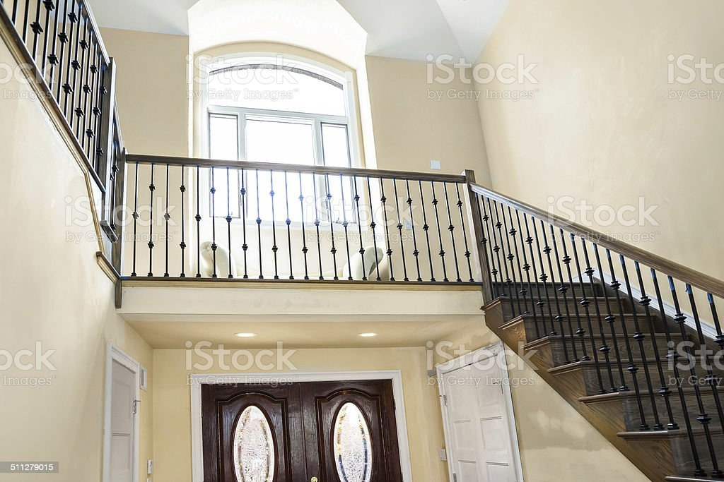 Front Hallway And Staircase Of Elegant Luxury Home Stock Photo   Home Front Staircase Design   Front Side Arch   Outer Wall   Outside Stair   Elevation Lighting   Wooden Stair
