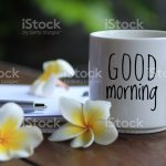 Good Morning Greeting Text On White Cup Of Coffee With Flowers And Paperworks Fresh Start To Have Beautiful And Productive Day Stock Photo Download Image Now Istock