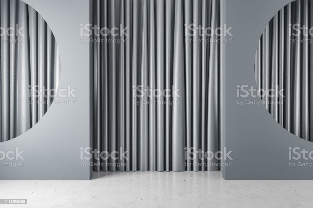 https www istockphoto com photo gray room with half circle niches and curtains gm1133596269 300917978
