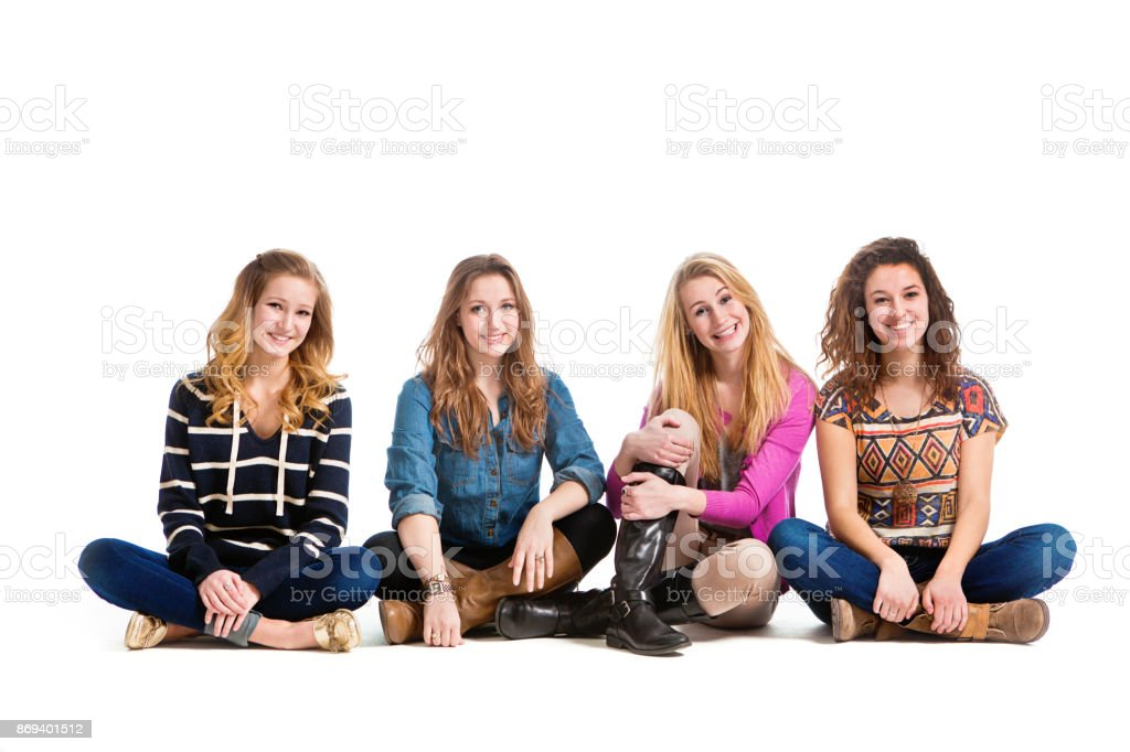 Group Of Four Friend Happy Teenage Girls Isolated On White ... on Small:zikqrscfop8= Teenage Girls  id=65420