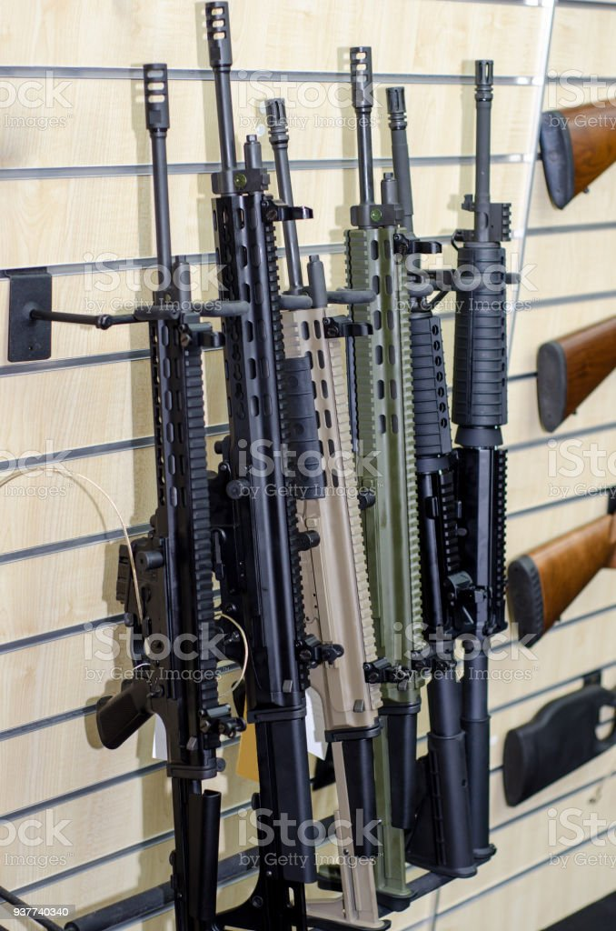 gun wall rack with rifles stock photo download image now istock