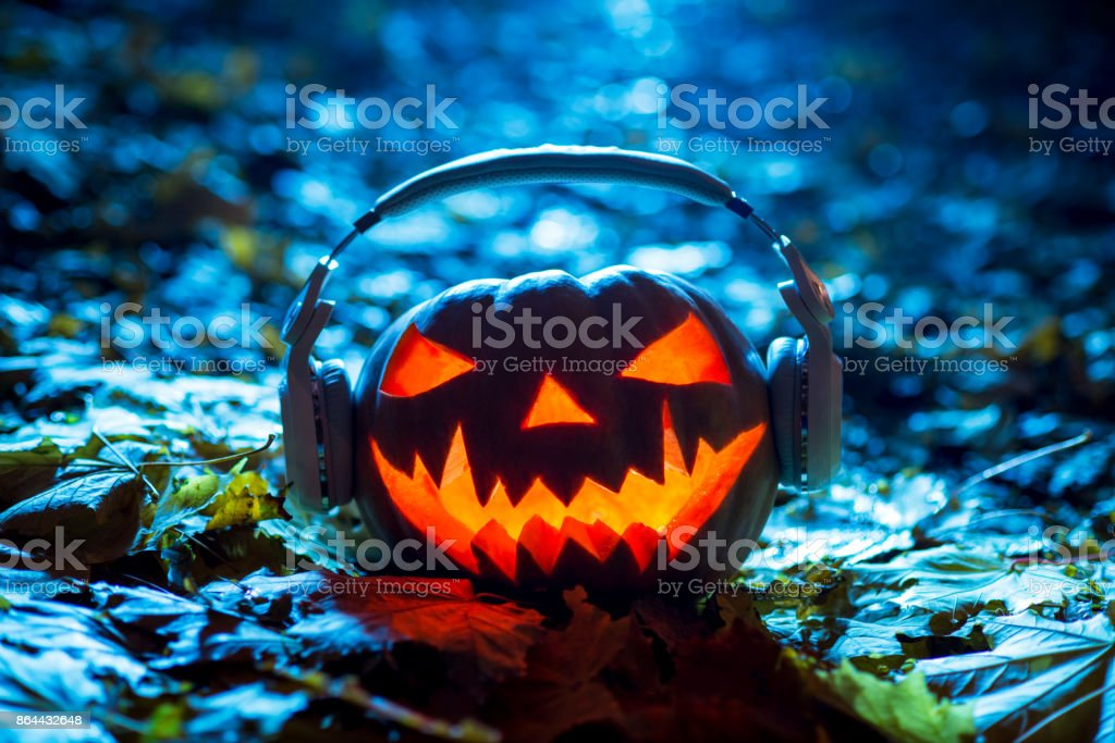 Halloween Pumpkin Head With Headphones Halloween Music ...