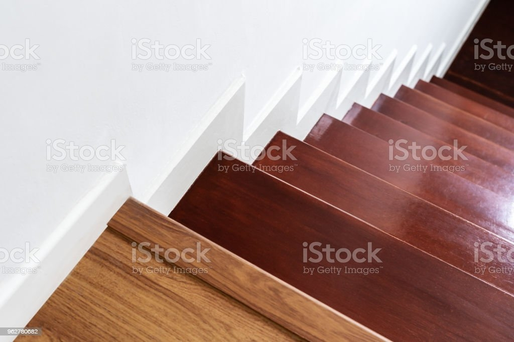 Hardwood Stair Steps And White Wall Interior Stairs Material And | White And Wood Stairs | Non Slip | Foyer | Simple | Solid Wood | Indoor