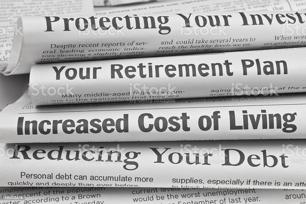 Headlines About Personal Finance Issues Stock Photo