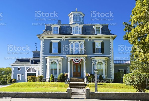 Historic New England House Kennebunk Maine Stock Photo ...