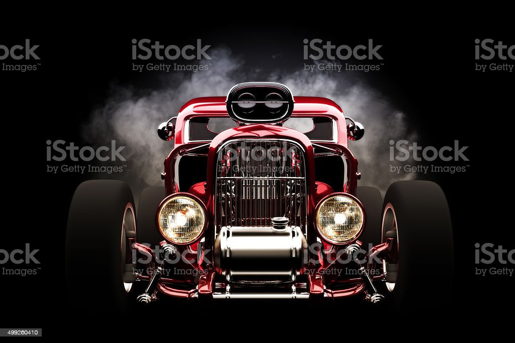 Hot Rod Front View With Smoke Burnout Background Stock