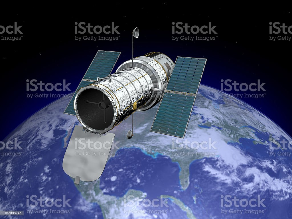 Hubble Space Telescope With Earth Stock Photo More