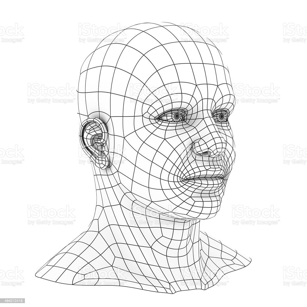 Human head 3d wireframe stock photo more pictures of abstract istock