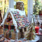 Image Of Gingerbread House On Christmas Table Runner With Sweets Stock Photo Download Image Now Istock