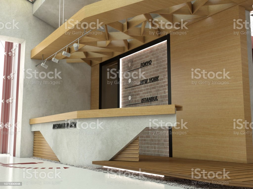 Information Desk And Lobby Interior Design Stock Photo Download   Stairs Design In Lobby   Wooden   Round   Glass   Residential   Duplex