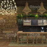 Interior Design Of A Cafe Or Restaurant Ethnic Retro Style With A Bar Counter And Decorations Of Luminous Garlands And Wicker Furniture 3d Rendering Stock Photo Download Image Now Istock