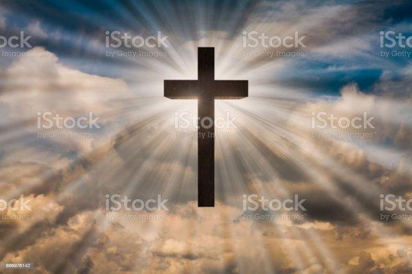 Jesus Christ Cross On Sky Heaven Stock Photo - Download ...
