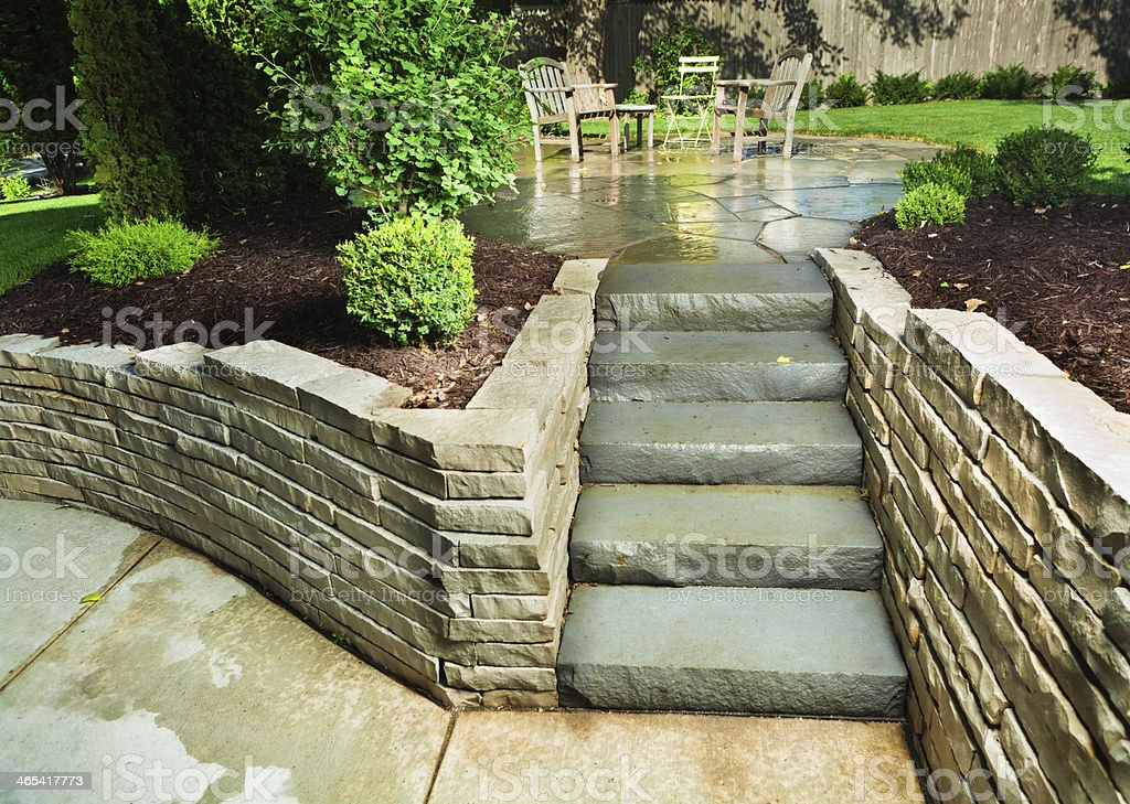 Landscaped Garden Back Yard Patio With Stone Paving Steps ... on Backyard Patio Steps id=73481