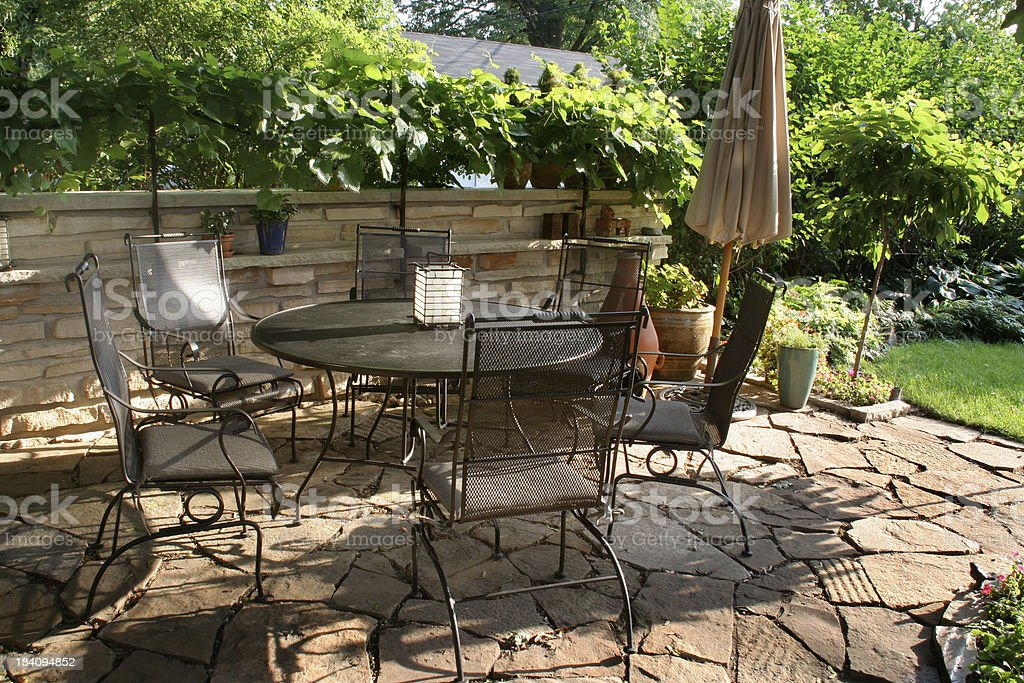 https www istockphoto com photo landscaped patio with stone wall pavers furniture and formal garden gm184094852 1804870