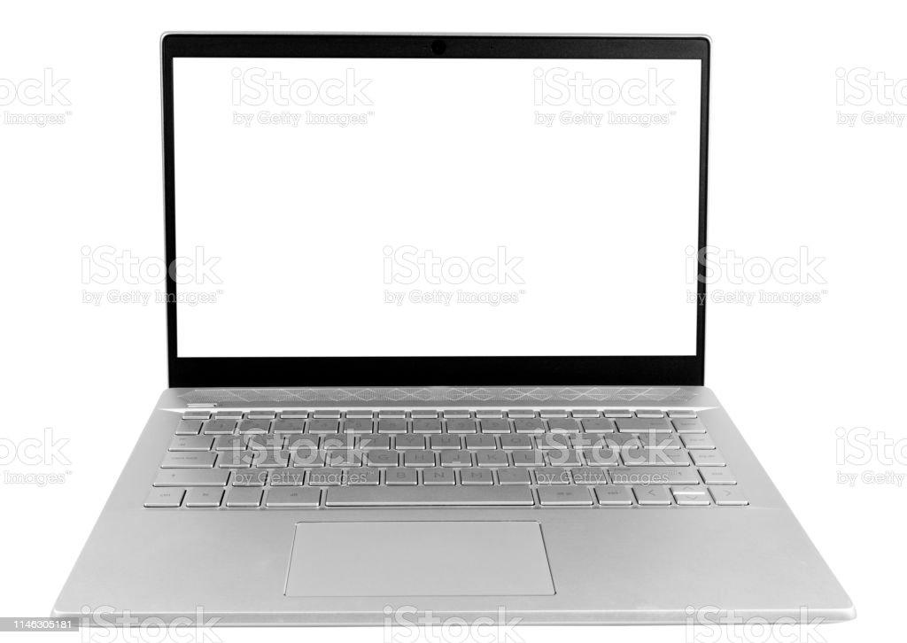 photo libre de droit de ordinateur portable pc avec ecran blanc mock up isole sur fond blanc ecran disolement dordinateur portable avec le chemin de clippin ordinateur pc ecran blanc avec espace