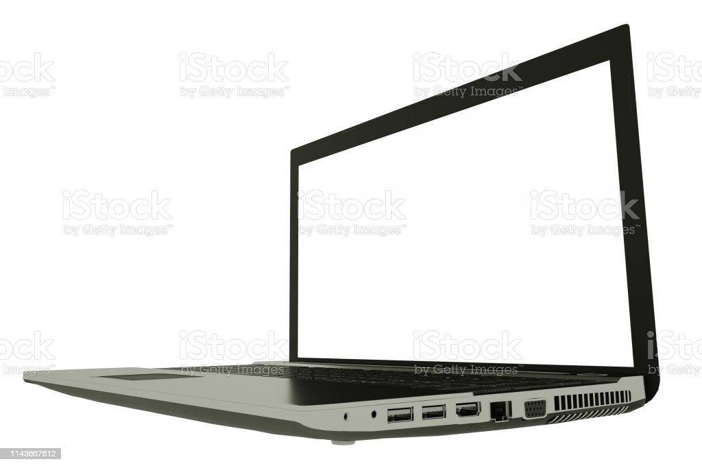 https www istockphoto com fr photo ordinateur portable avec c3 a9cran blanc isol c3 a9 sur fond blanc corps en aluminium argent c3 a9 gm1143667612 307213257