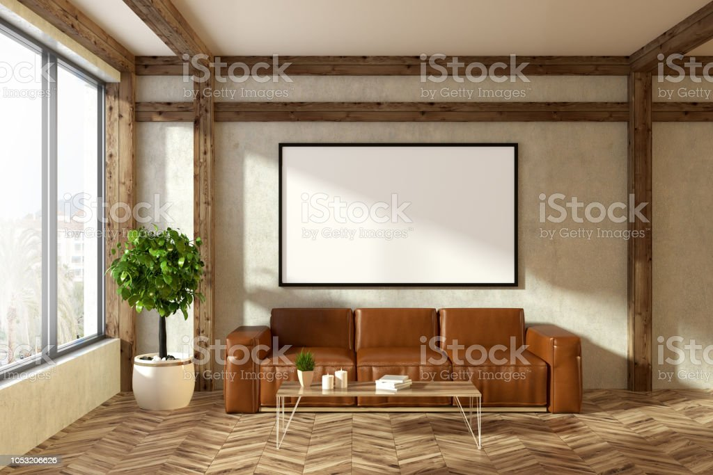 Leather Sofa In Beige Living Room Poster Stock Photo Download Image Now Istock