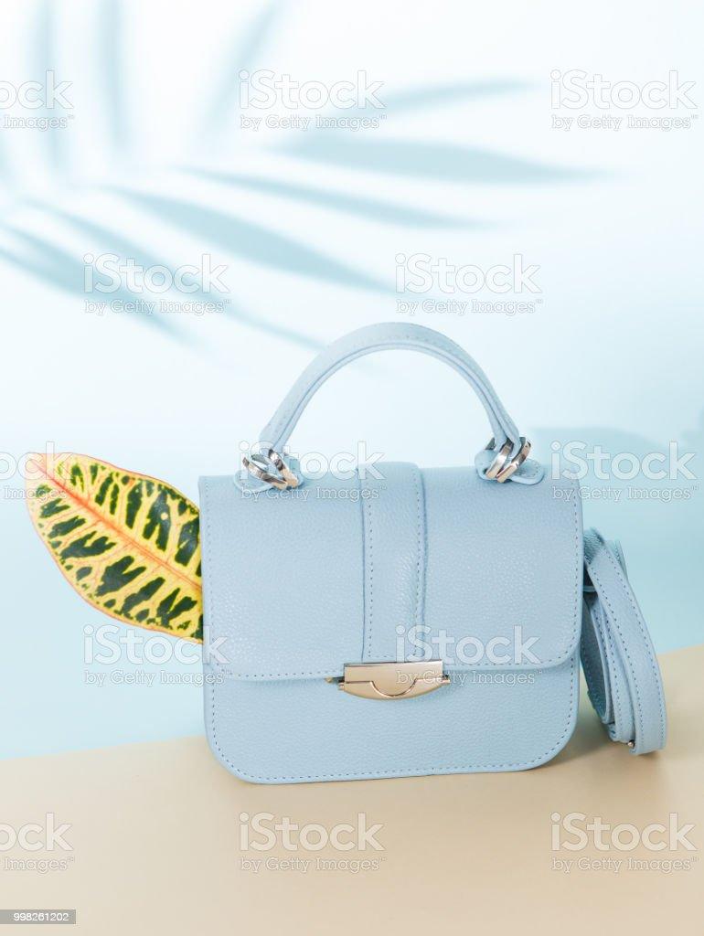https www istockphoto com fr photo sac fashion bleu clair avec laisse gm998261202 270045108