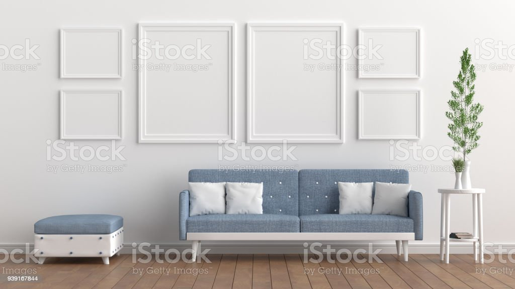 Living Room With White Wall And Light Blue Sofa Blank
