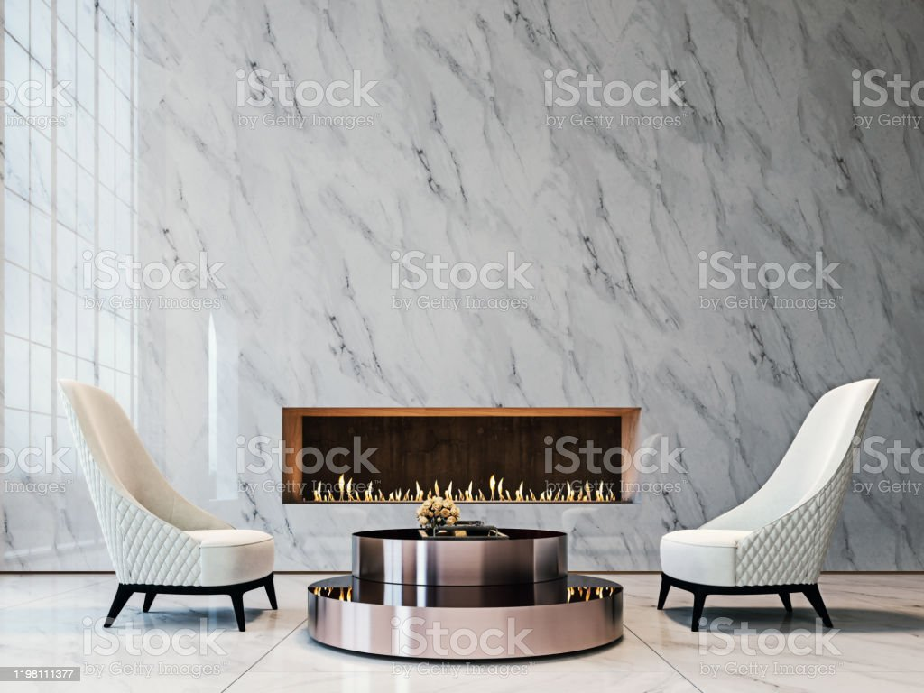 luxury white marble mockup wall with tufted white armchairs brushed metal coffee table and modern builtin fireplace living room 3d render 3d illustration stock photo download image now istock