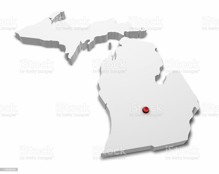 3d Map Of Michigan With Capital City Marked Stock Photo   More     3D Map of Michigan with Capital City Marked  royalty free stock photo