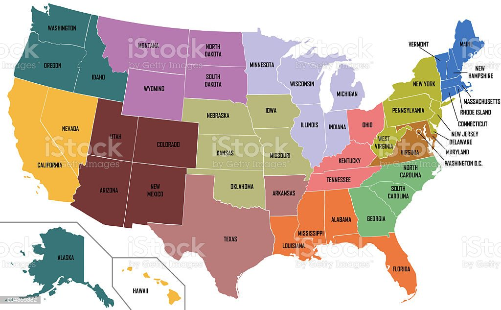 Royalty Free Us Map Pictures  Images and Stock Photos   iStock Map Of United States Of America With State Names stock photo