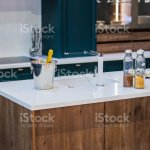 Marble Granite Top Kitchen Island With Sink And Accessories Modern Minimalistic Wooden Kitchen Design Stock Photo Download Image Now Istock
